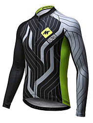 cheap -Mysenlan Men's Long Sleeve Cycling Jersey - Green / Black Bike Jersey, Quick Dry, Breathable Polyester
