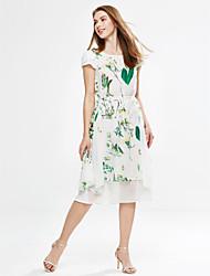Gaine Robe Femme Sortie Sophistiqué,Imprimé Col Arrondi Midi Manches Courtes Blanc Vert Polyester Eté Taille Normale Micro-élastique Fin