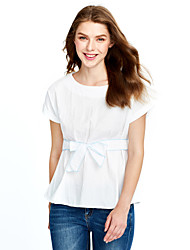 Women's Bow Casual/Daily Plus Size Summer Blouse,Solid Round Neck Sleeveless Blue / White Cotton Medium