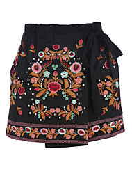 Women's Mid Rise Inelastic Shorts Pants,Chinoiserie Relaxed Embroidery