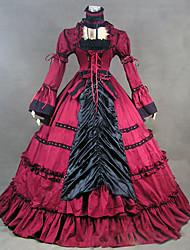 abordables -Victorien Rococo Costume Femme Robes Costume de Soirée Bal Masqué Rouge Vintage Cosplay Autre Manches Longues Mancheron Longueur Sol Ras