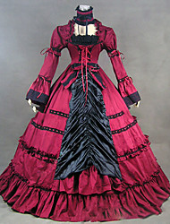 abordables -Rococó / Victoriano Disfraz Mujer Vestidos / Ropa de Fiesta / Baile de Máscaras Rojo Cosecha Cosplay Satín / Other Manga Larga Casquillo