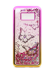 cheap -For Samsung Galaxy S8 Plus S8 Case Cover Flowing Liquid Pattern Back Cover Case Glitter Shine Butterfly Soft TPU for S7 edge S7