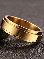 Per uomo Fedine Anello Vintage Stile semplice Acciaio al titanio Placcato in oro Rotondo Gioielli PerMatrimonio Party/serata Fidanzamento