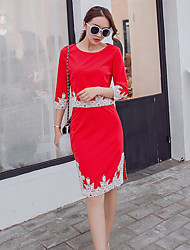 cheap -Women's Spring Summer Shirt Skirt Suits Round Neck Short Sleeve Cotton/nylon with a hint of stretch strenchy