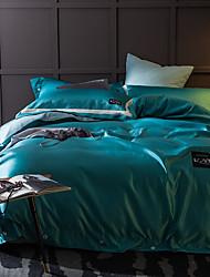 cheap -Solid 4 Piece Silk Cotton Hand-made Silk Cotton 1pc Duvet Cover 2pcs Shams 1pc Flat Sheet
