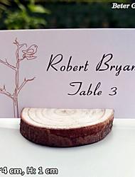 abordables -20 unids / set - titular de la tarjeta de lugar de madera real bricolaje decoración de la boda r: 3 ~ 4 cm, h: 1 cm