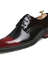 cheap -Men's Shoes PU Spring Fall Oxfords Walking Shoes Split Joint For Gold Black Brown Burgundy
