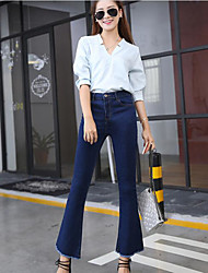 cheap -Women's High Rise Micro-elastic Bootcut Jeans Pants,Casual Solid Cotton Fall