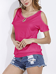Women's Going out Club Holiday Sexy Simple Street chic Spring Summer T-shirtPatchwork Off-the-shoulder BeadingRound Neck Short Sleeve Medium