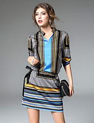 abordables -Mujer Línea A Vaina Vestido - Elegante Estampado, A Rayas Geométrico Patrón Escote en Pico