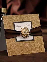 Top Fold Wedding Invitations 50-Invitation Cards Modern Style Pearl Paper Ribbon Bow Crystals/Rhinestones