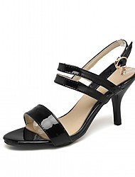 cheap -Women's Sandals Leatherette PU Summer Fall Walking Buckle Stiletto Heel White Black Blushing Pink 2in-2 3/4in