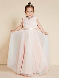 A-Line Princess Floor Length Flower Girl Dress - Chiffon Satin Sleeveless Crew Neck with Beading Sash/Ribbon by LAN TING BRIDE®
