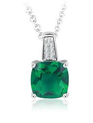 Damen Mädchen Halsketten Anhängerketten Ketten Synthetischer Smaragd Imitierte Perlen Geometrische Form Platiert Basis Kreisförmiges