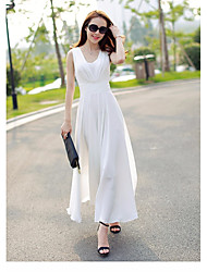 Women's Going out Simple A Line Dress,Solid V Neck Maxi Sleeveless Polyester Summer Mid Rise Micro-elastic Medium