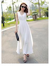 Damer Simpel I-byen-tøj A-linje Kjole Ensfarvet,V-hals Maxi Uden ærmer Polyester Sommer Alm. taljede Mikroelastisk Medium