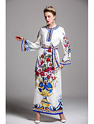 BY MEGYN Women's Party Daily Going out Cute Kaftan Dress,Print Round Neck Maxi Long Sleeves Polyester Spring Summer Mid Rise Inelastic Medium
