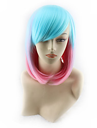 cheap -Synthetic Wig Straight Asymmetrical Haircut Synthetic Hair Ombre Hair Blue Wig Women's Short / Medium Length Cosplay Wig Capless
