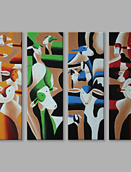 cheap -Hand-Painted Animals Vertical Panoramic, Abstract Modern/Contemporary Canvas Oil Painting Home Decoration Four Panels