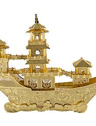 Недорогие -3D пазлы Металлические пазлы Наборы для моделирования Корабль Китайский древний корабль Веселье Металлический сплав Классика Детские Универсальные Игрушки Подарок