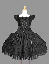 cheap -Gothic Lolita Dress Princess Punk Lace Women's Girls' One Piece Dress Cosplay Black Cap Sleeveless Short / Mini