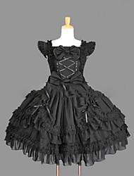 Gothic Lolita Dress Princess Punk Lace Women's Girls' One Piece Dress Cosplay Black Cap Sleeveless Short / Mini
