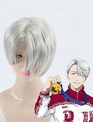 cheap -High Quality Gray Short Hair Yuri on Ice Cosplay Wigs Victor Nikiforov Costume Play Woman Adult Wig Halloween Anime Game Hair