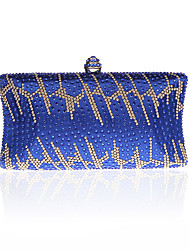 cheap -Women Bags PU Polyester Evening Bag Rhinestone for Wedding Event/Party Formal All Seasons Blue Gold Green Black Red