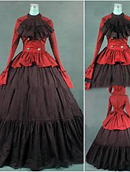 abordables -Epoque Médiévale Victorien Gothique Costume Femme Robes Bal Masqué Costume de Soirée Rouge Vintage Cosplay Autre Coton Manches Longues