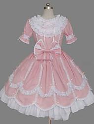 One-Piece/Dress Sweet Lolita Lolita Princess Cosplay Lolita Dress Vintage Short Sleeve Knee-length Dress For Cotton Blend