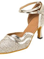 "cheap -Women's Modern Sandal Heel Professional Laces Buckle Sparkling Glitter Customized Heel Gold Black 1"" - 1 3/4"" 2"" - 2 3/4"" 3"" - 3 3/4"" 4"""