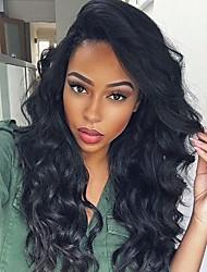 Ženy Paruky z přírodních vlasů Přírodní vlasy Celokrajkové 130% Hustota Vlnité Paruka Černá Krátký Střední Dlouhý Přírodní vlasová linie