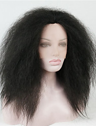 economico -Donna Parrucche Lace Front Sintetiche Medio Dritto Kinky liscia Nero Parrucca naturale Parrucca per travestimenti