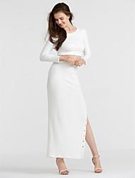 abordables -Femme Court Tee-shirt - Couleur Pleine, Fendu Jupe