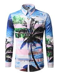 Men's Traveling Boho Active All Seasons Shirt,Patterned Shirt Collar Long Sleeve Cotton Polyester Medium