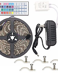 cheap -Led Strip Lights Kit Waterproof 5050 5M 300leds RGB 60leds/m with 44key Ir Controller and 3A Power Supply 5PCS Mounting Bracket