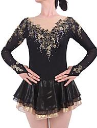 Robe de Patinage Artistique Femme Fille Robe de Patinage Noir Spandex Elasthanne Haute élasticité A Bijoux Strass Utilisation Fait à la