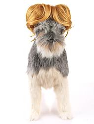 abordables -Gato Perro Navidad Pelucas Ropa para Perro Fiesta Cosplay Halloween Año Nuevo Sólido Amarillo Disfraz Para mascotas