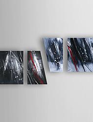 baratos -Pintados à mão Abstrato Horizontal,Abstracto Moderno/Contemporâneo Nova chegada 4 Painéis Tela Pintura a Óleo For Decoração para casa