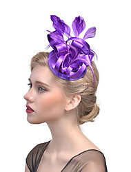cheap -Tulle Fascinators Hair Clip with Feather 1 Event/Party Headpiece