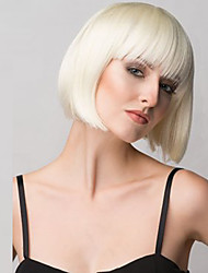 cheap -White Women Short Straight  Blonde BoBo Wig Syntheitc Hair Nets Wig With Bangs.