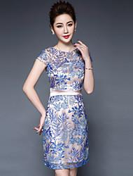 levne -Dámské Větší velikosti Čínské vzory Pouzdro Šaty - Květinový