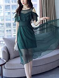 Mousseline de Soie Balançoire Robe Femme Soirée / Cocktail Plage Bohème Chic de Rue,Couleur Pleine Col Arrondi Midi Manches Courtes