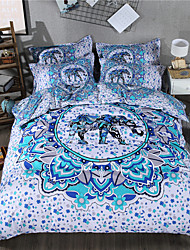 cheap -Duvet Cover Sets Geometric 3 Piece Poly/Cotton Reactive Print Poly/Cotton 1pc Flat Sheet 4pcs (1 Duvet Cover, 1 Flat Sheet, 2 Shams) 3pcs