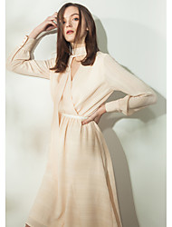 Women's Casual/Daily Skater Dress,Striped V Neck Knee-length Long Sleeves Polyester Summer High Rise Inelastic Thin