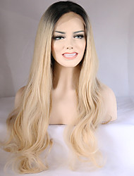 cheap -Fashion Long Wave Blonde Ombre Wig Dark Roots Synthetic Lace Front Wigs Heat Resistant Black/BlondeTwo Tone Hair For Women