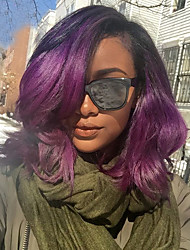 cheap -Human Hair Full Lace / Glueless Full Lace Wig Wavy 130% Density Ombre Hair / Natural Hairline / African American Wig Women's Short / Medium Length Human Hair Lace Wig / 100% Hand Tied