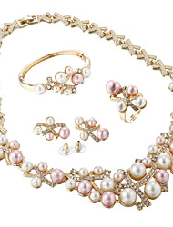 cheap -Women's Pearl / Rhinestone / Gold Plated Jewelry Set Rings / Earrings / Necklace - Luxury / Bridal / Elegant Jewelry Pink Jewelry Set /