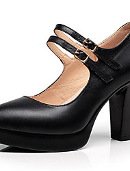 cheap -Women's Heels Basic Pump Leather Spring Fall Office & Career Basic Pump Chunky Heel Black 3in-3 3/4in